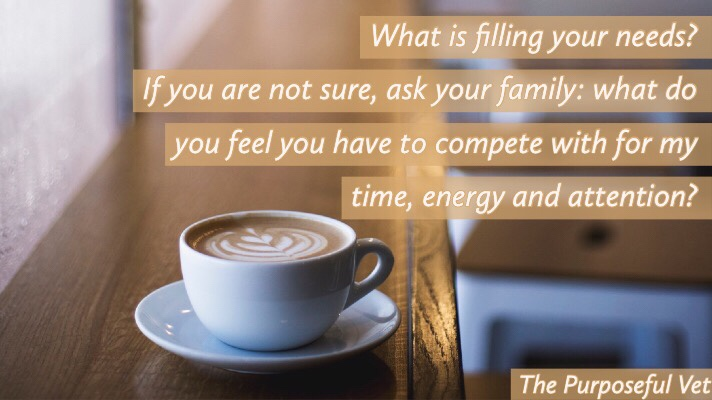 What is filling your needs? If you aren't sure ask your family, what do you feel you compete with for my time, energy and attention?